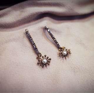 Tentez Bijoiterie古風首飾專賣店 獨家設計 簡約百搭 閃光搖曳小鑽耳環 優雅長款 針式夾式