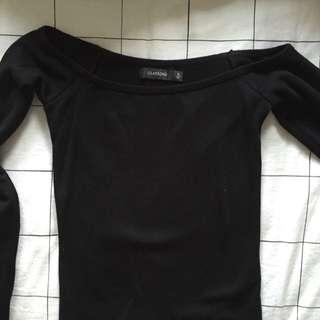 Black Cotton Off Shoulder Long Sleeve
