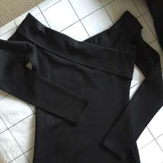 Black Bardot Midi Dress (body-con)