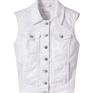 Guess White Denim Vest