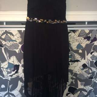 Black, Strapless Dress with Rhinestones