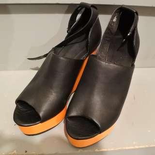 Neon orange platform sandals