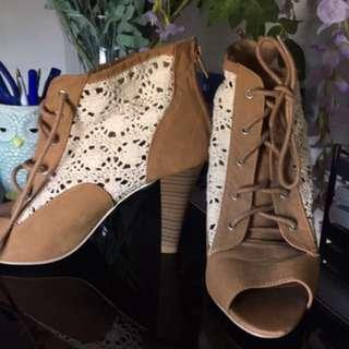 Brown Lace Heels