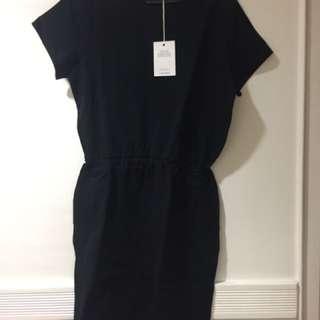 (NEW) & Other Stories Black Elastic Waistband Dress