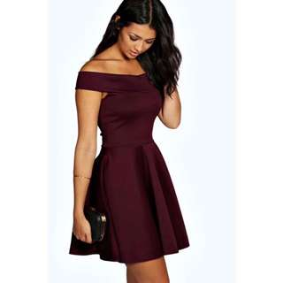 Boohoo Off The Shoulder Skater Dress in Berry Size 12 M/L