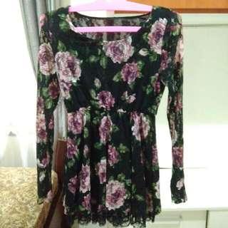 Mini Black Dress Floral