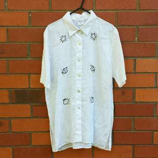 Distressed Embroidered Linen Resort Shirt