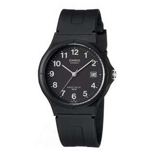 [Ready Stock] Casio MW-59 MW59 MW 59 1B Unisex Men Ladies Classic Simple Black Resin Analog with Date Display Watch New New