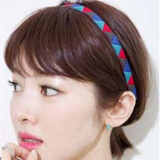 韓國進口三角撞色民族布藝髮帶