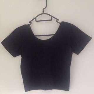 Black Crop Tshirt