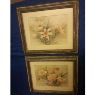 Floral Prints In Barnwood Frame