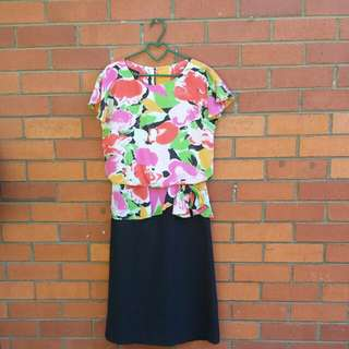 Vintage 80s Colourful Office Dress