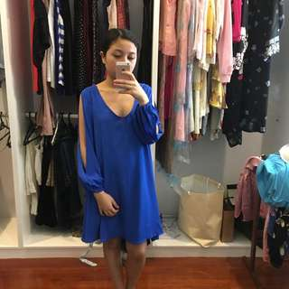 Blue Dress with Split Sleeves