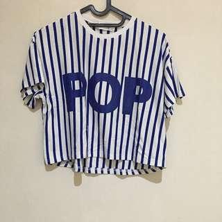 "Blue Striped Tee ""POP"""