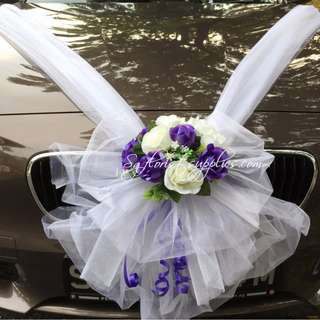Wedding car decor artificial womens fashion carousell singapore wedding car artificial flowers decoration free installation purple white flowers junglespirit Choice Image