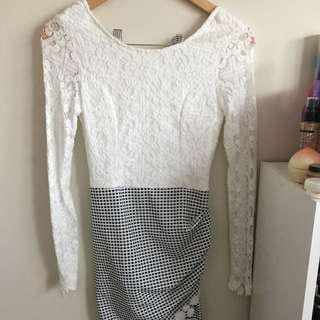 White Checkered Lacey Dress