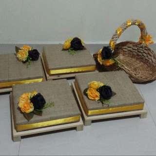 For Sale!! Dulang Burlap Rustic Tray Set.