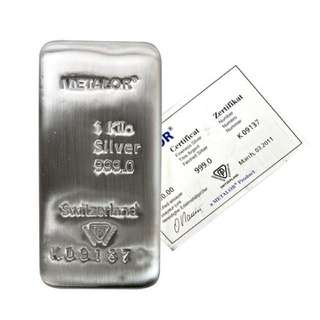 Metalor 1Kg Silver Bar With Certificate