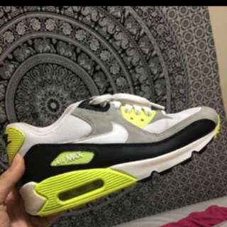 Nike Air Max 90 Sneakers Lime Grey White Black Size 5Y