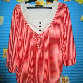 Red Stripes Long Sleeve Blouse