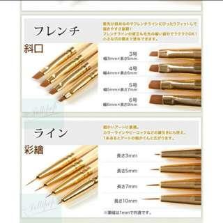 【日本原木美甲筆】專業美甲筆 凝膠筆 光療筆 附金色筆蓋 彩繪筆