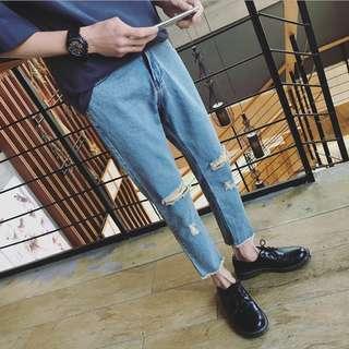 韓版九分破壞牛仔褲