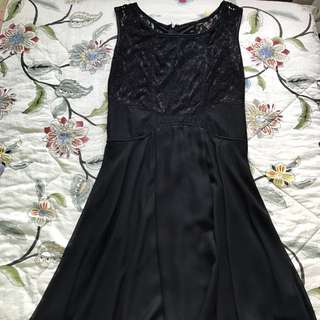 Flare Mesh Panel Black Dress