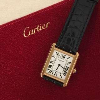 Cartier 氣質玫瑰金 tank solo 手錶