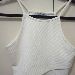 Showpo White Wrap Crop Singlet