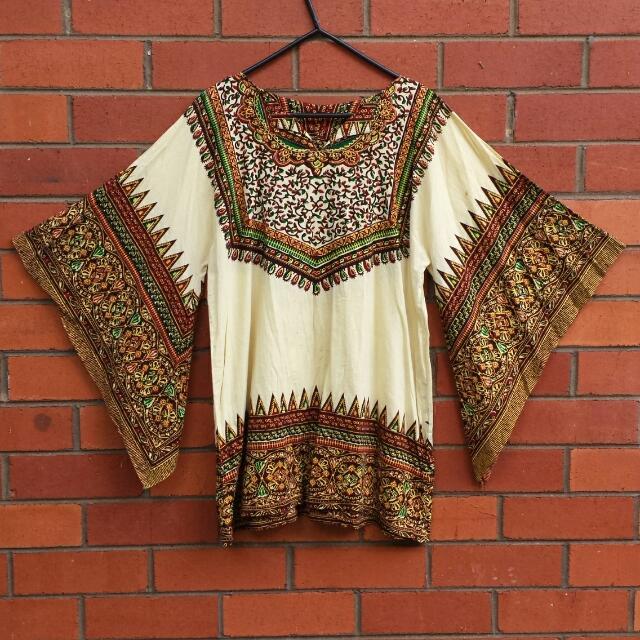 1970s Vintage Distressed Kaftan Shirt / Dashiki