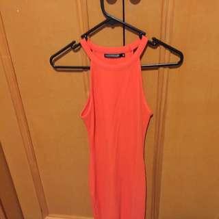 Rose Bullet Orange Ribbed Fabric Dress Size 6