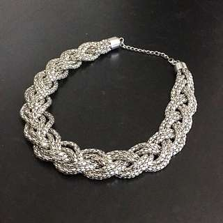 Silver Woven Rope Necklace