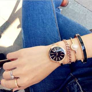 玫瑰金 黑色錶面 手錶+手鍊+手環組 #我有手錶要賣