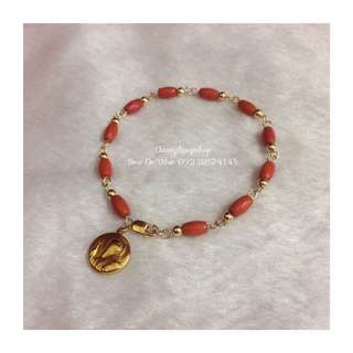 Authentic Coral Bracelet W/ St.Benedict