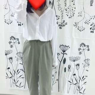 韓版墨綠西裝褲