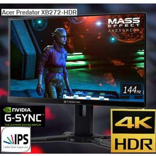 Acer Predator XB272-HDR 4K 144Hz Gaming Monitor With G-Sync And HDR.