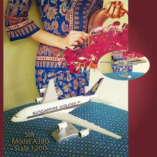 """SIA Plastic Aeroplane Model A380, Scale 1:200. About 16"""" length or wingspan. Used, Good Condition. $48 Offer, Sms 96337309 for Fast Deal.  JVAA Vintage OPEN HOUSE tomorrow Thurs 20th Apr 1-5pm. ☎ Call 96337309 if you are late."""