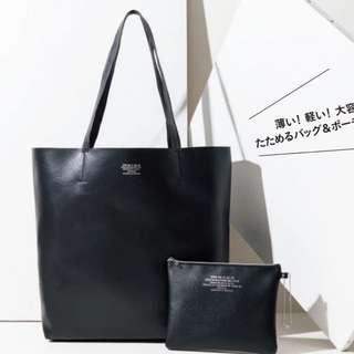 🚚 ◆Belle Shop◆日本雜誌附錄 Zucca 黑色皮革托特包+收納包