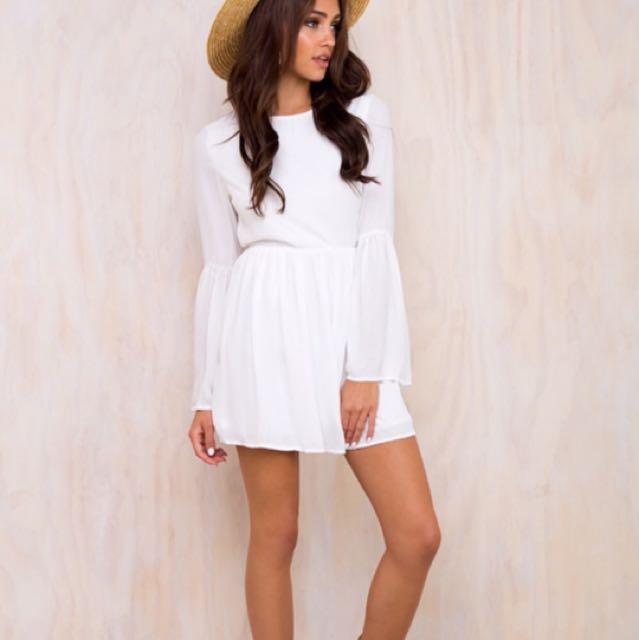 Princess Polly 4 Carets Babydoll Mini Dress White Size 6