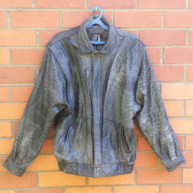 80s Distressed Leather Biker/Punk Jacket