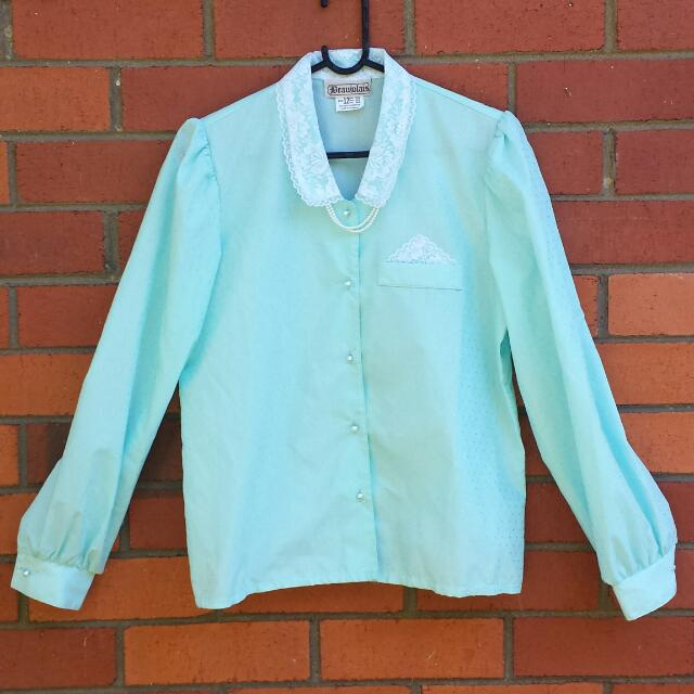 80s Vintage Aqua Shirt With Lace Collar