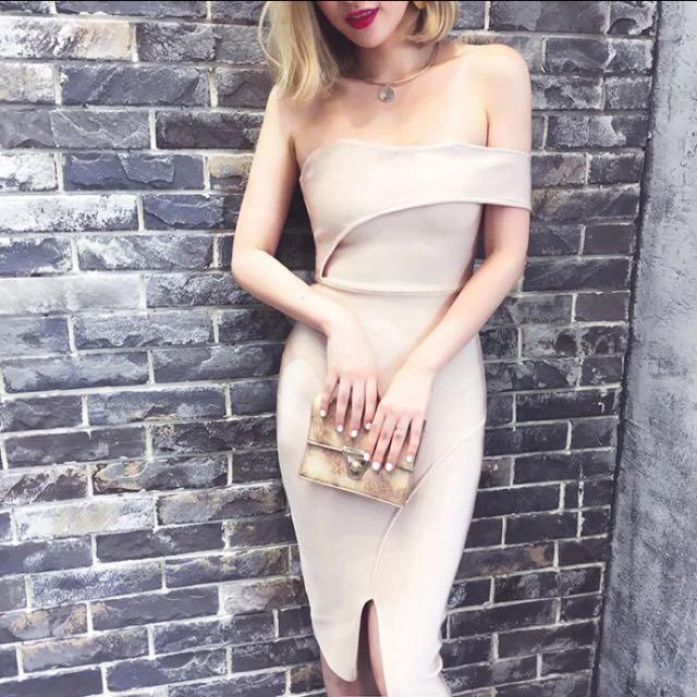 氣質單肩繃帶造型洋裝