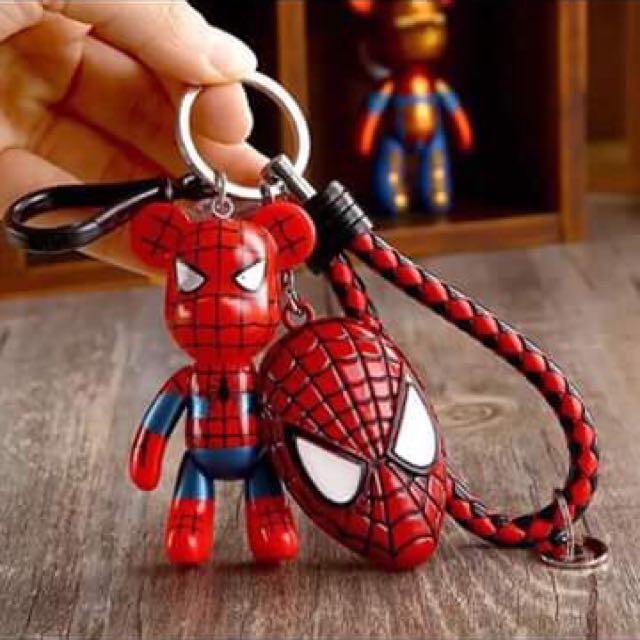 紅蜘蛛熊+紅蜘蛛盾+紅黑皮繩鑰匙圈