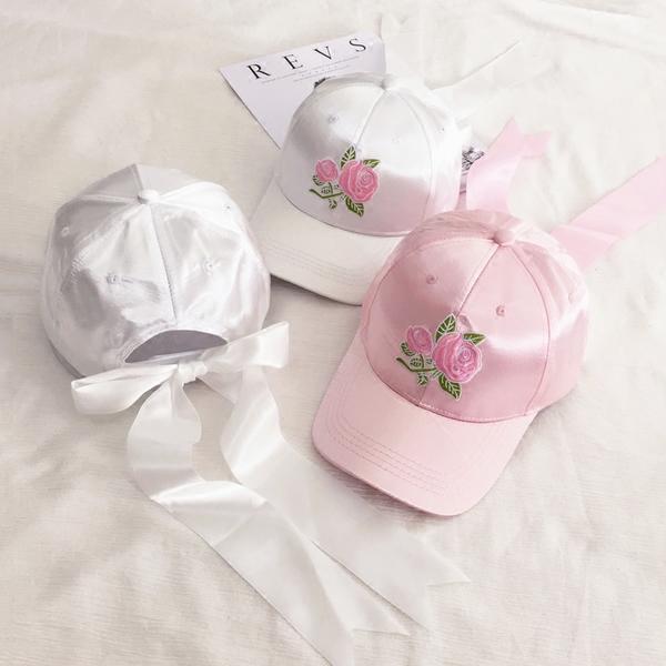🌺粉紅調色盤-韓國玫瑰刺繡綢緞蝴蝶結綁帶老帽