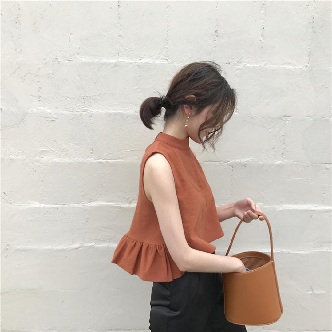 🎃橙子糖漿-微削肩露肚短版無袖背心