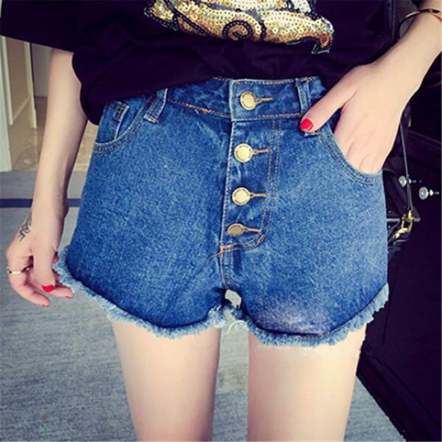 妞)高腰牛仔短褲