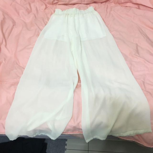 白色薄紗寬褲