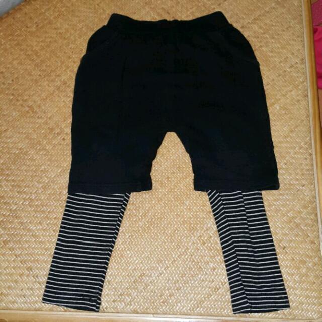 二手韓版小童假兩件褲子