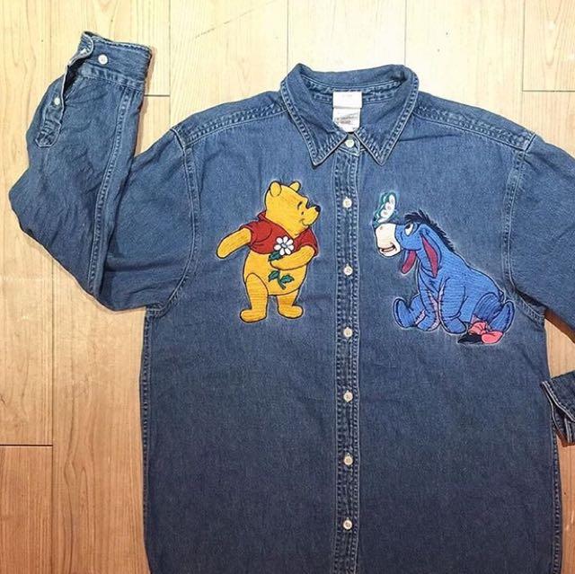 古著 美國正版迪士尼維尼亿耳牛仔襯衫
