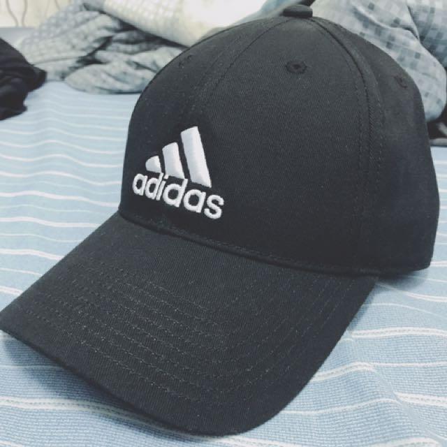 adidas 老帽 休閒帽 可調式 全黑 公司貨